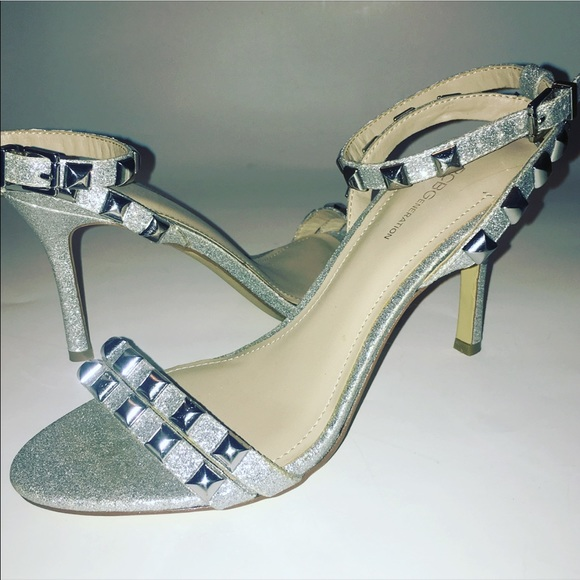 9a80895c835 BCBG Shoes - Last Price!!! silver strappy studded heels